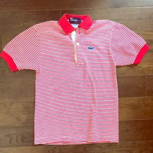 Boys Vintage Izod Lacoste Red & White Striped Polo